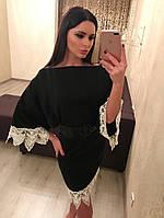 Элегантное женское платье с отделкой из кружева,ткань шерсть, цвет черный