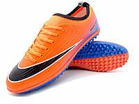 Футбольные сороконожки Nike Mercurial Victory TF Orange/Black/Blue, фото 1