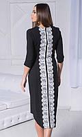Платье Черно-Белое с кружевом, черно-белые платья в Украине, трикотажное черно-белое платье