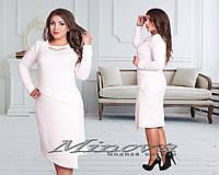 Модное белое платье батал с украшением. Арт-9615/68