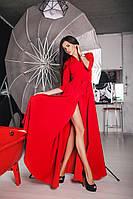 Женское платье макси длины с карманами. Цвет: черный, красный. Материал креп. Размер ХS-L.