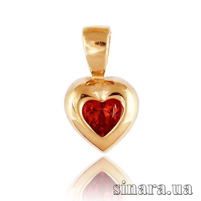Золотая подвеска Сердце с красным камнем