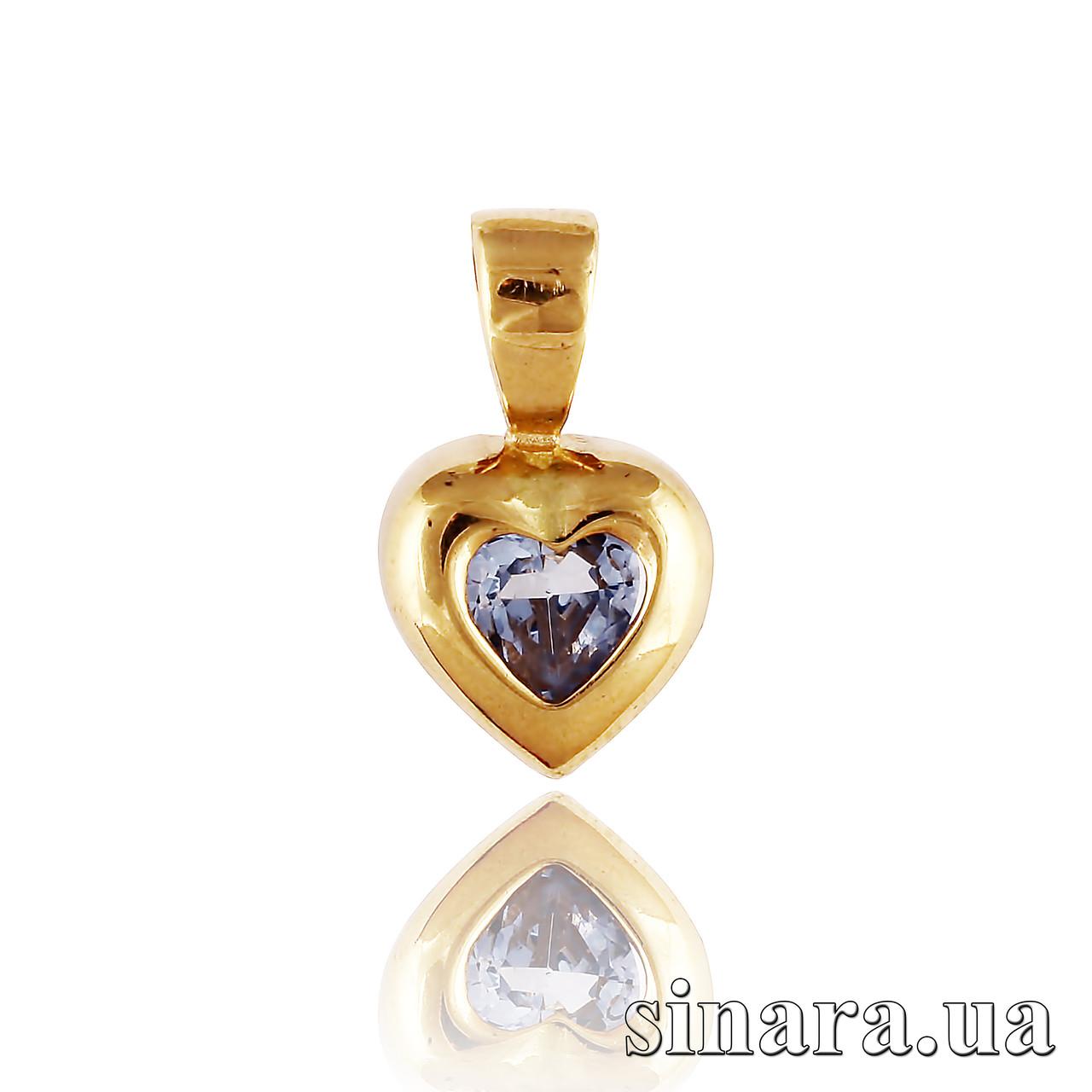 Золотая подвеска Сердце с голубым камнем