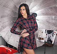 Короткое женское платье-рубашка в клетку с поясом. Материал: тиар. Размер ХС-С,М,Л