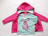Комплект реглан и толстовка для девочки набор котик бабочка на розовая