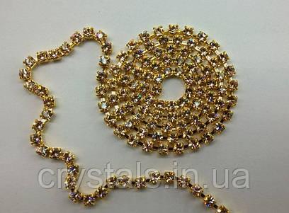 Стразовая цепь Preciosa (Чехия) ss12 Gold Quartz/золото