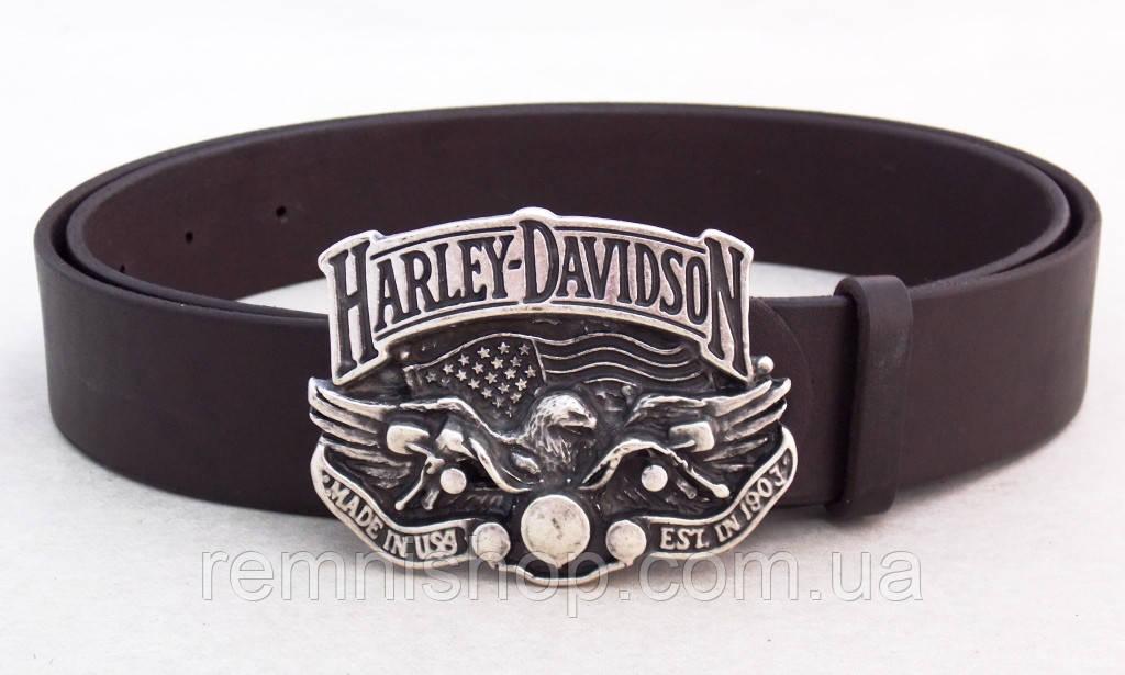 Кожаный коричневый ремень для джинс Harley Davidson