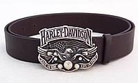 Кожаный коричневый ремень для джинс Harley Davidson , фото 1