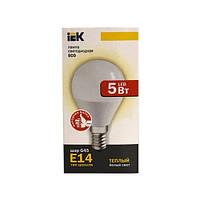 Лампа светодиодная ECO G45 шар 5Вт 230В 3000К E14 IEK.