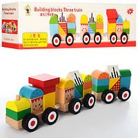Деревянная игрушка Паровозик - конструктор MD 0994