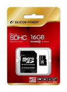 Карта памяти Silicon Power 16Gb microSD Class 10 + SD-adapter (SP016GBSTH010V10SP)