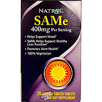 Natrol, SAMe (S-Adenosyl-L-Methionine), 20 таблеток по 200 мг
