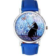 Часы наручные женские Кошка с бабочкой код 173