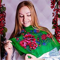 Маленький зелёный платок с цветами (70х75см,зелёный, 100%-акрил) , фото 1