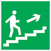"""Самоклеющаяся этикетка 150х150мм """"Направление к эвакуационному выходу по лестнице направо вверх"""" ИЭК. IEK"""