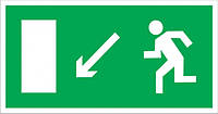 """Самоклеющаяся этикетка 200х100мм """"Направление к эвакуационному выходу налево вниз"""" ИЭК. IEK"""