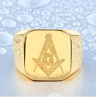 Мужское кольцо Масонский перстень печатка сталь 316L  позолота