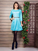 Голубое платье большие размеры с поясом