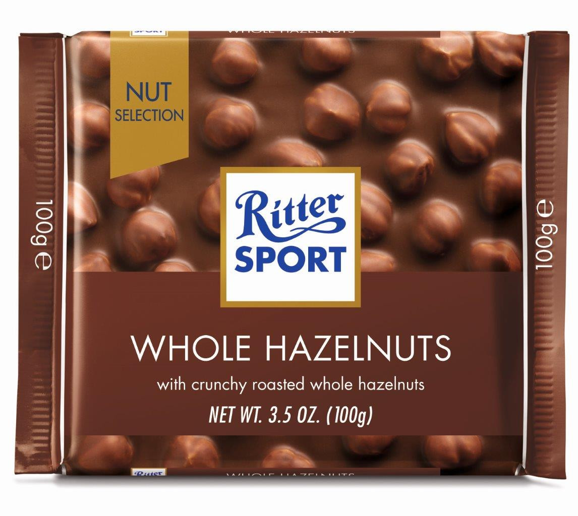 Шоколад Ritter Sport Whole Hazelnuts (Риттер Спорт с фундуком), 100 г
