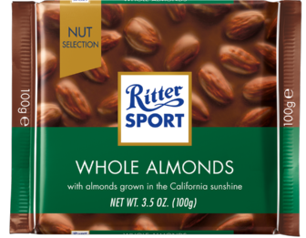 Шоколад Ritter Sport Whole Almonds (Риттер Спорт с миндалем), 100 г