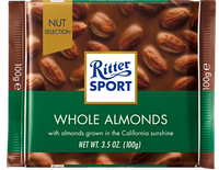 Шоколад Ritter Sport Whole Almonds (Риттер Спорт с миндалем), 100 г, фото 1