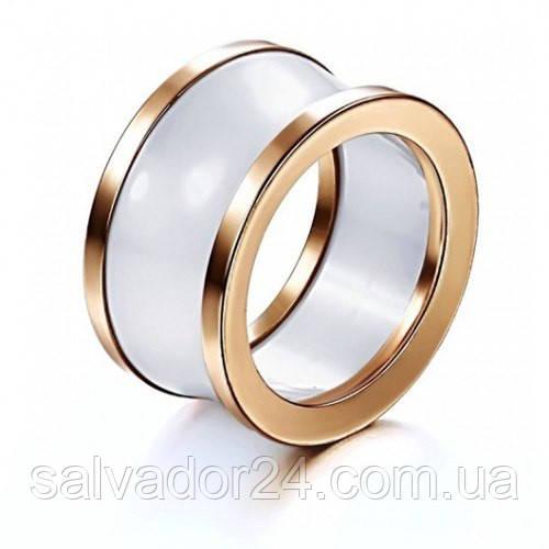 Керамическое кольцо BVLGARI (реплика) 18К позолота, 19 размер
