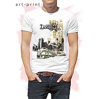 Чоловіча футболка бавовна біла з принтом TRAIN, фото 1