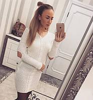 Платье вязанное косичка белое 11910