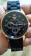 Мужские классические   стильные  кварцевые наручные часы  Armani черные