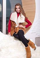 Женская теплая жилетка на овчине коричневая