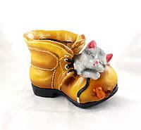 Кашпо Черевик з кошеням і мишкою