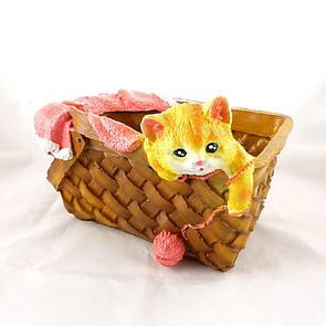 Кашпо корзина с котёнком и клубком