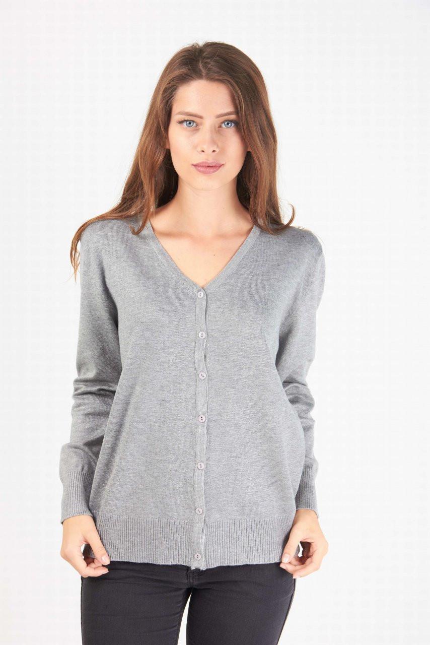 69e268cca549 Модная женская кофта на пуговицах серого цвета от производителя - купить по  ...
