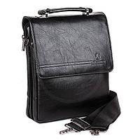 Мужская сумка Bradford 98336-3 черная из искусственной кожи на плечевом ремне размеры 22 см х 27 см х 7 см