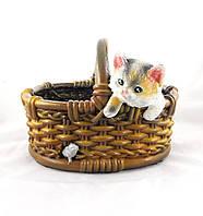 Кашпо Котенок с мышкой в корзине
