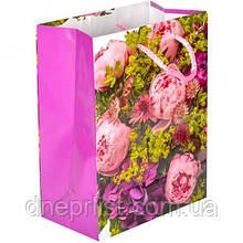 Подарочный пакет, 23×18×10 см / цветы 1