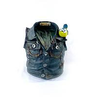 Кашпо для растений джинсовая курточка з синичкой