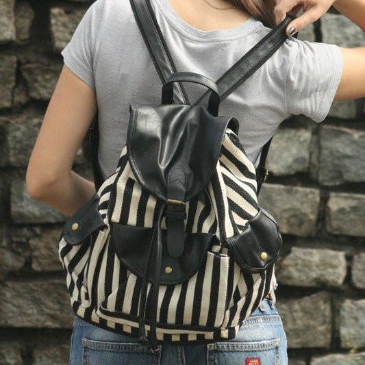 Женский  рюкзак Ретро в полосочку