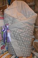 Конверт-одеяло на выписку на липучке с красивым бантом (весна, осень, зима), 90х90- Горох -полоска