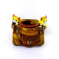 Кашпо для растений кожаная сумка с котятами