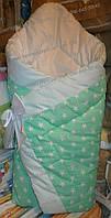 """Конверт-одеяло (демисезонный) на выписку на липучке с красивым бантом, 90х90- """"Звездочка"""