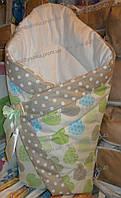 """Одеяло на выписку на липучке с красивым бантом (демисезонный), 90х90- """"Сердечки"""", фото 1"""