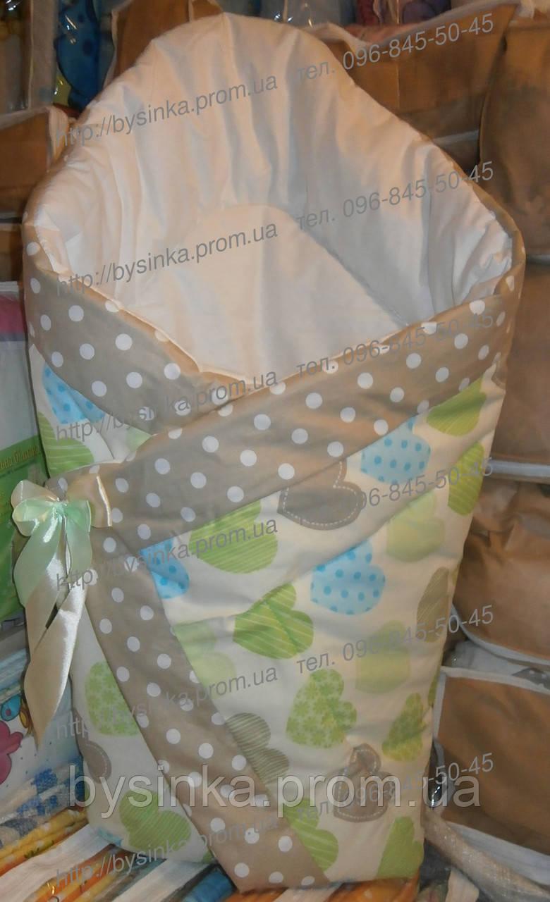 "Одеяло на выписку на липучке с красивым бантом (осень, зима, весна), 90х90- ""Сердечки"""