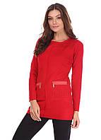 Яркая женская туника с кармашками красного цвета