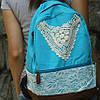 Женский рюкзак с кружевом , фото 2