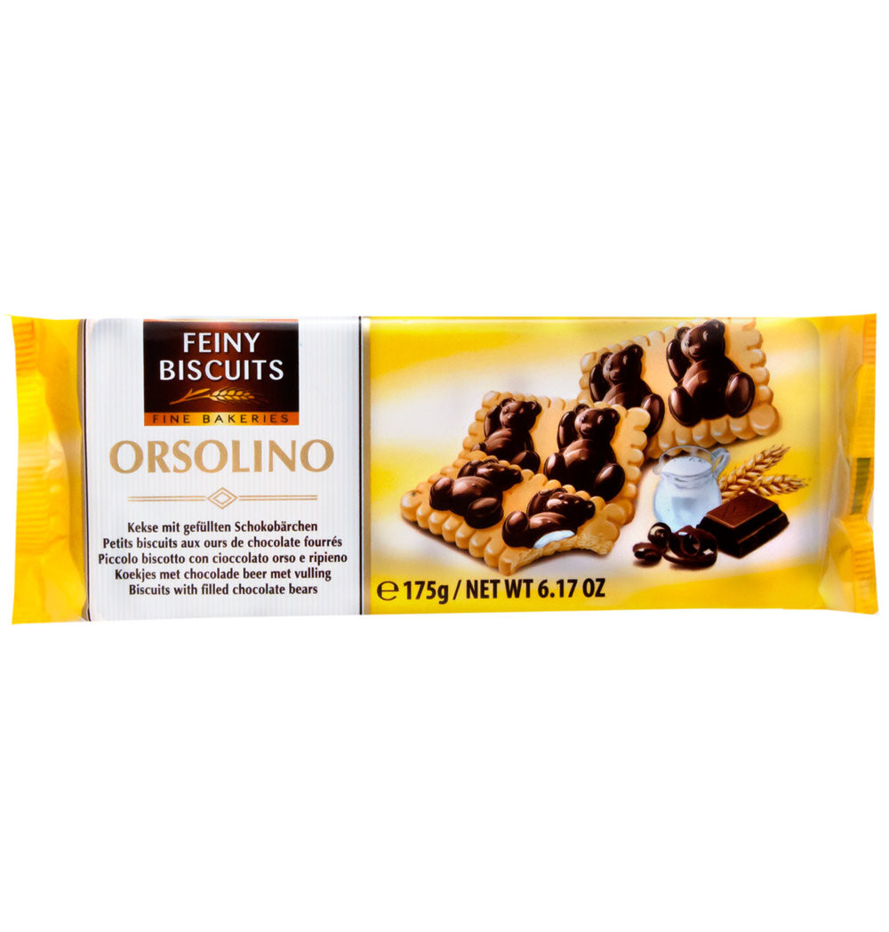 Песочное печенье Orsolino Dark Chocolate Feiny Biscuits, 175 гр.