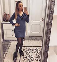 Платье вязанное полоска цвет синее  11915