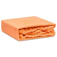 Махровая простинь на резинке двуспальная оранжевого цвета