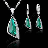 Ювелирный комплект Зеленые камушки серебро 925
