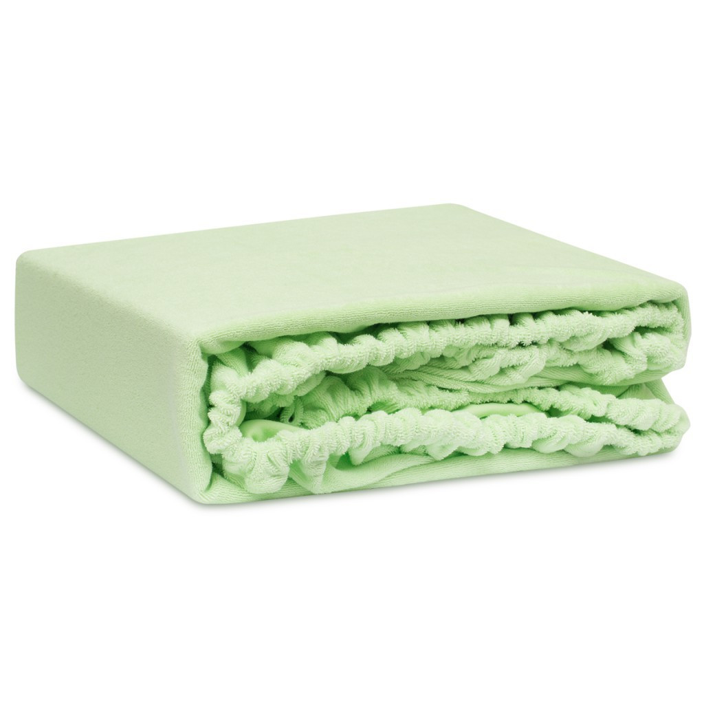 Махровая простинь на резинке для матраца двуспальная салатового цвета